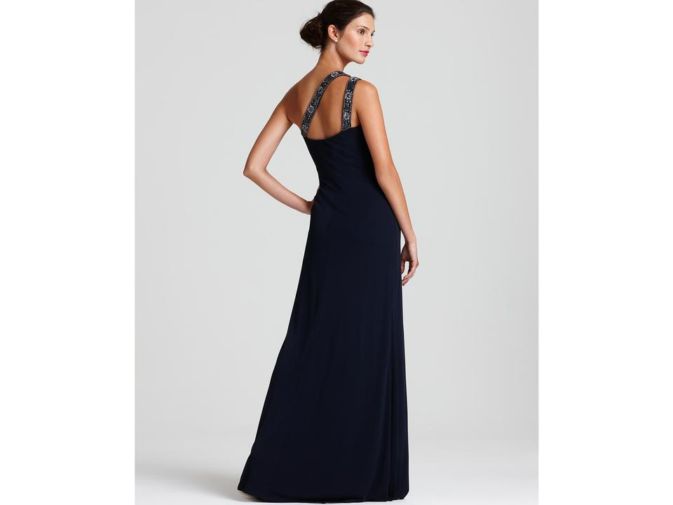 David Meister Navy Bejeweled One-shoulder Jersey Gown By Long Formal ...