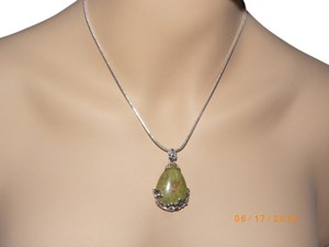 Natural Stone Teardrop 925 sterling silver chain necklace