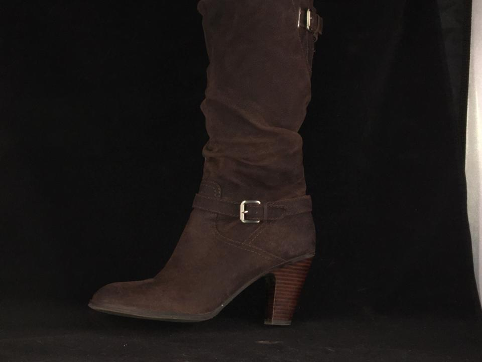 dba88438eef Guess Heels Size 9.5m New Silver-colored Metal Buckles Brown Boots Image 2.  123