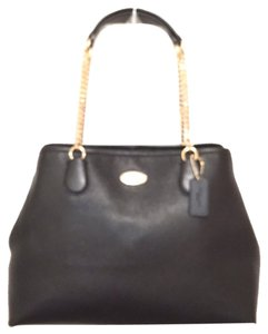 Coach Leather New/nwt Handbag Satchel in Black Gold