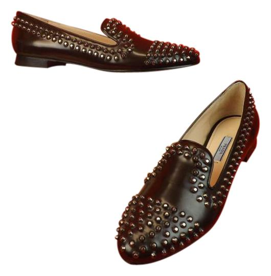 Preload https://img-static.tradesy.com/item/10066108/prada-brown-espresso-leather-silver-metal-studs-studded-loafers-flats-size-eu-355-approx-us-55-regul-0-3-540-540.jpg