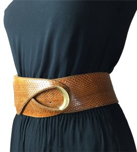 ***WOW!*** BOHO CHIC Lauren Moffatt Cognac Brown Python Snake Skin Leather & Suede Belt w/ Gold Hardware S-M-L (Adj.) Lauren Moffatt Python Snake Skin Leather Belt *One-Size FITS ALL*