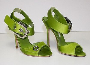 Manolo Blahnik Strappy Green Pumps