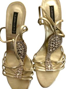 Claudia Ciuti Metallic Dressy Stiletto Beaded Ankle Strap Sparkly Holiday Festive Gold with opalescent beading Sandals