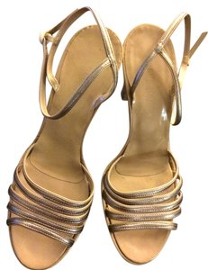 Marc Jacobs Chunky Metallic gold with nude patent leather heel Sandals