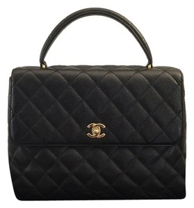 Chanel Quilted Caviar Kelly Leather Flap Satchel in Black