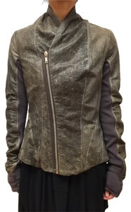 Rick Owens Leather Distressed Brown Leather Jacket
