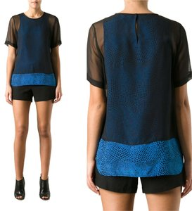Tibi Polka Dot Animal Print Sheer Top Blue, Black