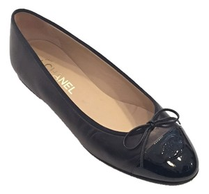 Chanel Metallic Leather Bronze Black Flats