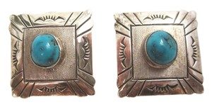 VINTAGE LARGE NAVAJO Square STERLING SILVER & TURQUOISE EARRINGS 12gr --Superb!