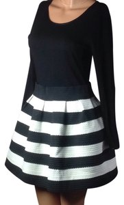 Black and white striped bodycon dress puff skirt mini Dress