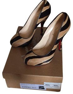 Christian Louboutin brown/camel zebra Pumps