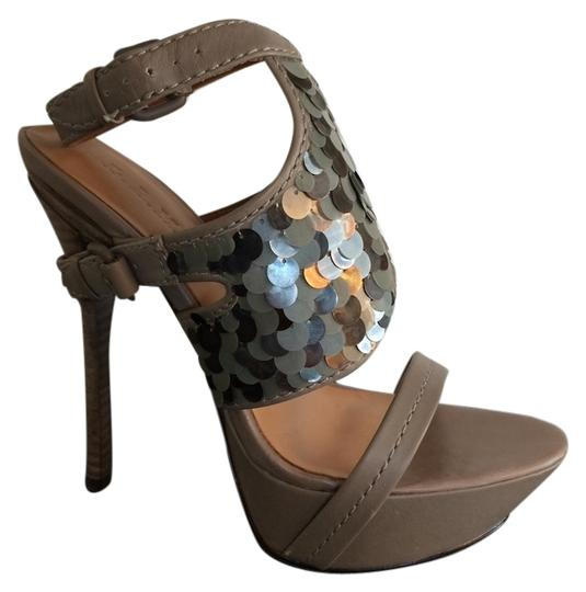 L.A.M.B. Keita Sequin Sandals Taupe Platforms