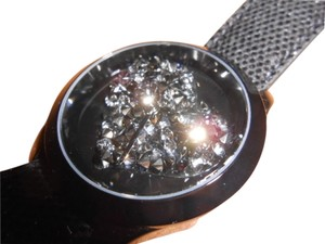 Guess Womens Guess Clearly Inspired Sparkly Black Crystal Heart Watch U0113L4 Needs New Battery