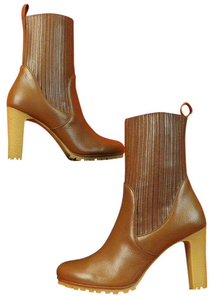 906acd5370beae Gucci Cuir Brown Edith Luxor Leather Elasticized Ankle Boots Booties ...