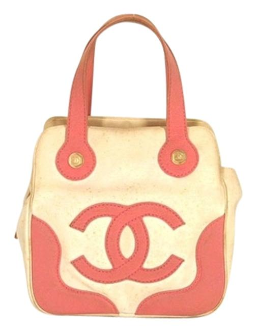 Item - Marshmallow Tote Pink/ White Canvas Satchel
