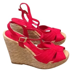 American Eagle Outfitters Wedges Red Fuchsia Sandals