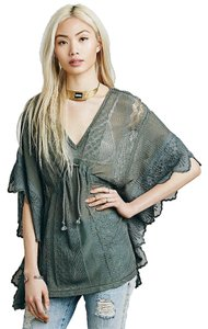 Free People Secret Garden Washed Pine Drawstring Waist New Top