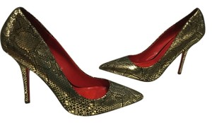 Charles Jourdan Embossed Leather Snake Patterm Stiletto Heels Gold and black Pumps