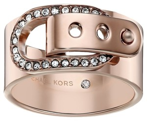 Michael Kors Michael Kors MKJ4640 Crystal Pave Buckle Accented Ring Rose Gold Tone Size 7