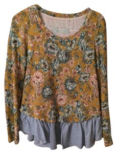 Lilka Shirt Ruffle Peplum Floral Anthropologie Sweater
