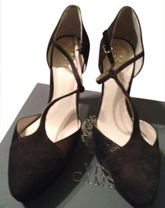 Vince Camuto Fudge Brown Metalic Bronze Suede Pumps