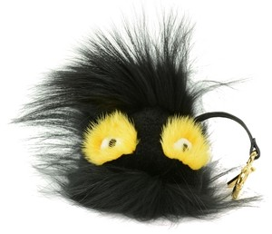 Fendi Grimmy Black and Yellow Fur Bag Bug Monster Key Chain Bag Charm
