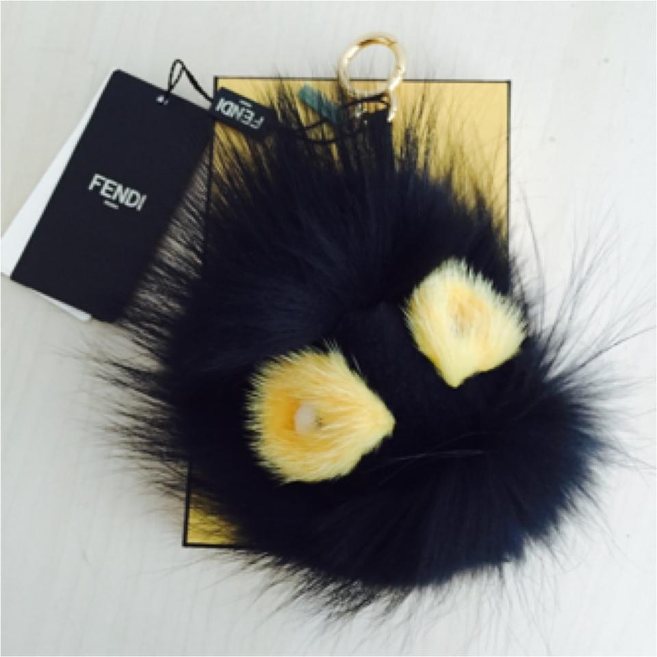 498706cd82c6 Fendi Black Yellow Grimmy and Fur Bag Bug Monster Key Chain Bag Charm -  Tradesy