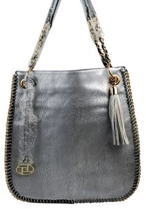 La Terre Fashion Chain Vegan Faux Leather Shimmer Hobo Bag