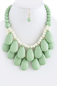 Unknown Mint Faceted Teardrop Cluster Necklace Set