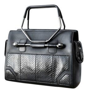 VIKTOR & ROLF Leather Snakeskin Satchel in Black