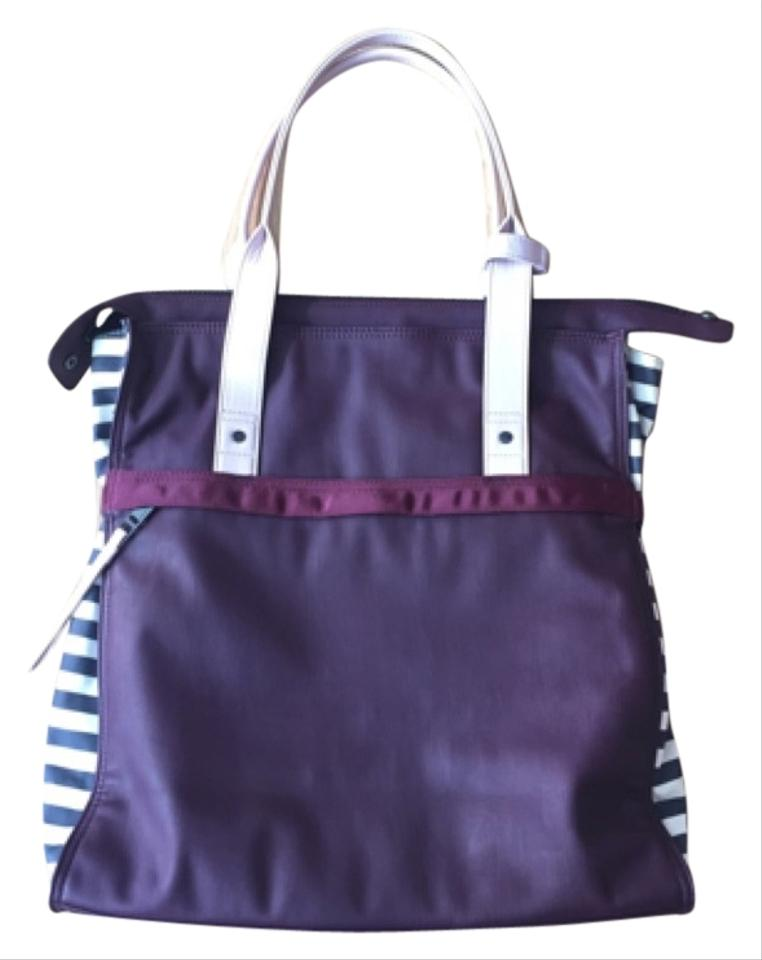c6aadc32578 Lululemon Follow Your Bliss Purple with Gray & White Stripes Tote ...