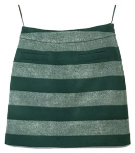 Kate Spade Wool Striped Mini Skirt Green