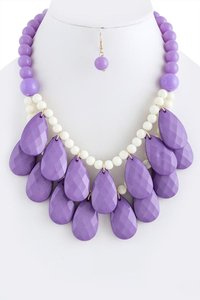 Unknown Lavender Faceted Teardrop Cluster Necklace Set