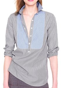 J.Crew Popover Shirt Button Down Shirt Blue Navy Stripe