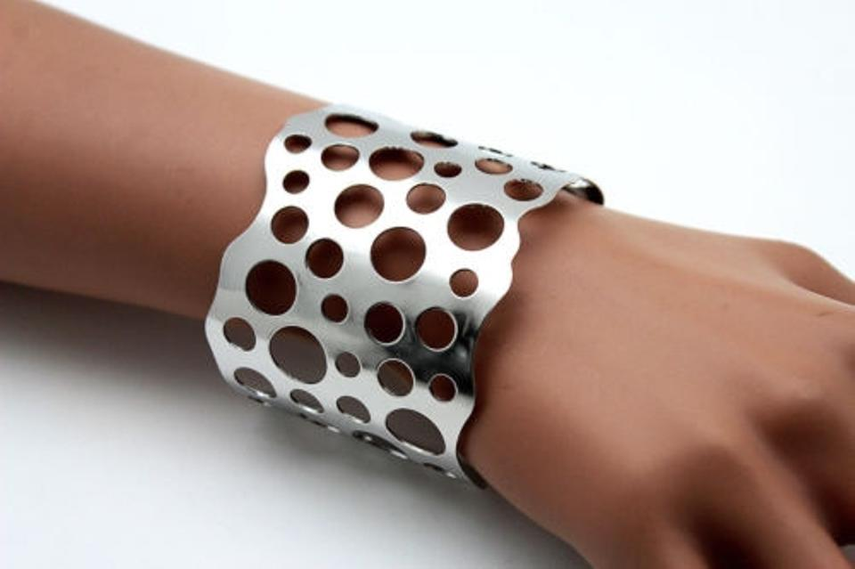 Women Cuff Bracelet Silver Metal Fashion Jewelry Hole Circles Cut Out Adjustable