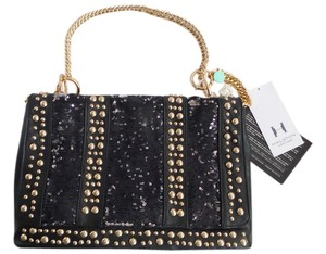 Halston Heritage Carla Studded Sequin Front Flap Chain Black Clutch