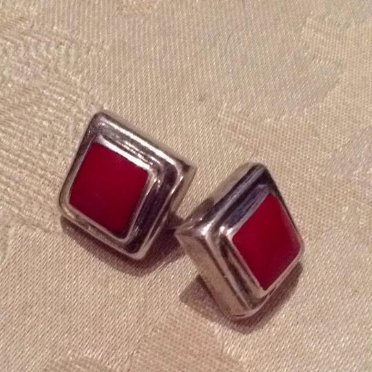 Other Sterling Silver Red Stone Square Earrings