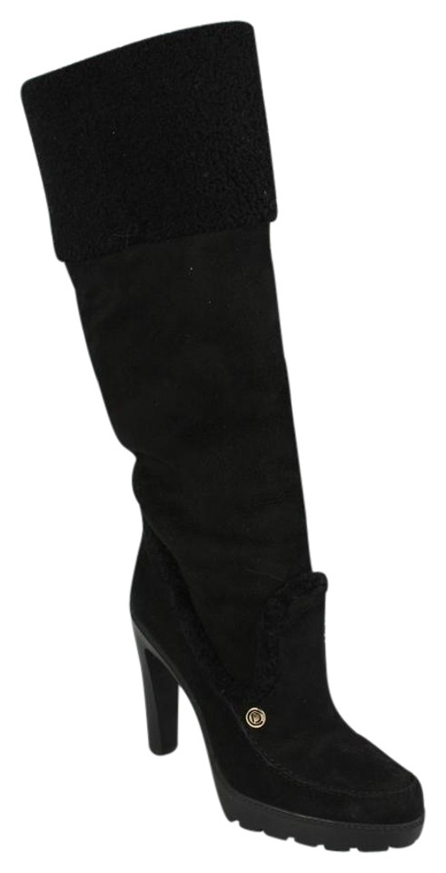 Dior Black and Suede and Black Lambswool Tall Boots/Booties b2d557