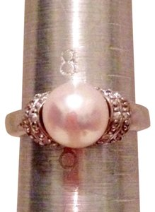 Sterling & Pearl Ring W/ CZ's