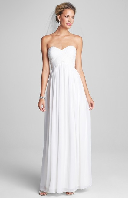 Item - White Lily Chiffon Silk 'laura' Ruched Sweetheart Gown Formal Bridesmaid/Mob Dress Size 8 (M)