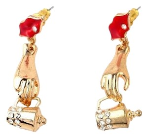 Betsey Johnson Betsey Hand Tea Cup Dangle Earrings Gold Tone Red Lips J1724