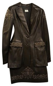 Escada Escada Lambskin Leather Skirt and Jacket with gold tone design