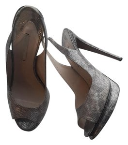 Nicholas Kirkwood Metallic Grey Snake Pumps