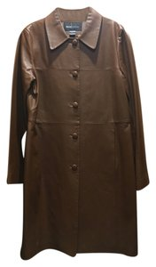 Moda International Leather Coat Trench Long Brown Leather Jacket