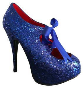 Bordello Blue Glitter Platforms
