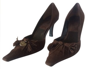 Givenchy Tassels Pointed Toe Suede Chocolate Brown Pumps