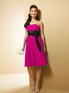 Alfred Angelo Fuchsia With Black Trim 7017s Dress