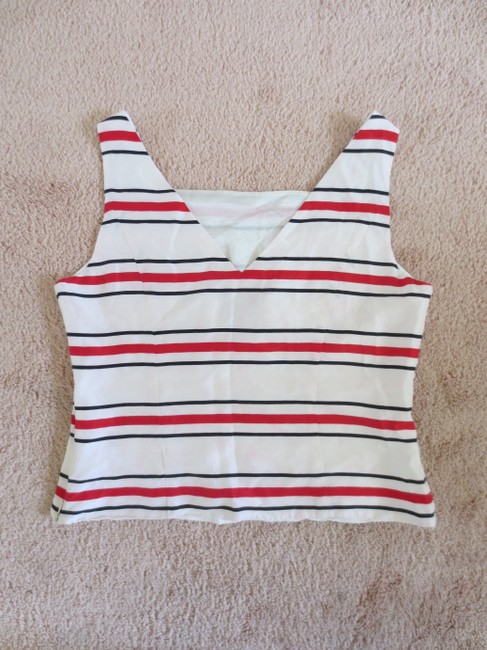 Adrianna Papell Silk Striped Reversible V-neck Straight Neck Square Neck Invisible Zipper Sleeveless Top Red and white