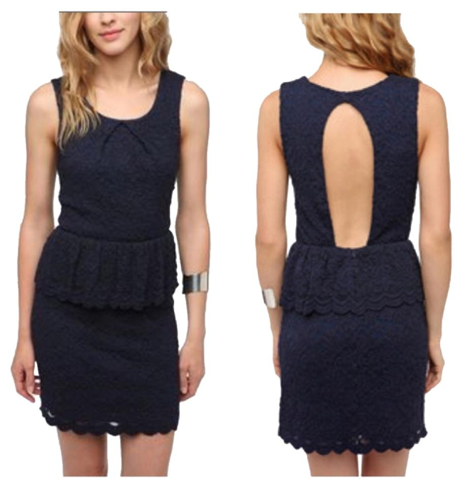 d2021ab3e4 Urban Outfitters Navy Lace Knit Peplum Above Knee Cocktail Dress ...